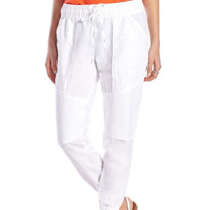 Lucky Brand White Jogger Linen Crop Pants ~LARGE